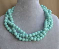baby blue pearl NecklaceGlass Pearl by glasspearlstore on Etsy, $20.00