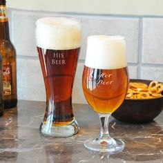 @Overstock - Let these custom his and hers pilsner set be the perfect match for all toast-worthy occasions.http://www.overstock.com/Home-Garden/His-Hers-Pilsners-Glasses/7321161/product.html?CID=214117 $36.39