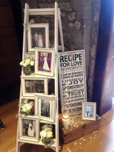 Family wedding photos styled on wooden ladder at Priston Mill & vintage props Www.littleweddinghelper.co.uk