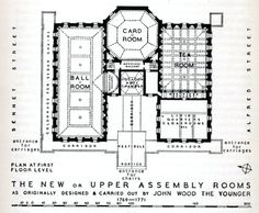 "Floor plan of the Upper Rooms,Bath from Walter Ison's book, ""The Georgian Buildings of Bath"""