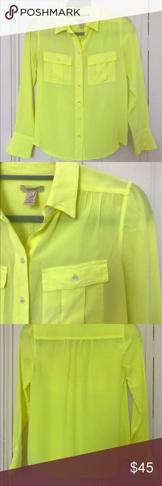 Bright Yellow Lime Silk J. Crew Shirt Yellow-lime colored silk button down J. Crew shirt. Slight wear. J. Crew Tops Blouses