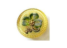 Czech glass button handmade handpainted etched flowers green on yellow 27mm