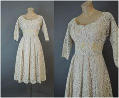 Vintage Lace Dress 1960s Party Cocktail Dress fits 36 inch bust, Full Skirt, AS-IS with flaws by dandelionvintage on Etsy