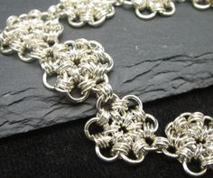 Sterling Silver Daisy Chainmaille Bracelet $90