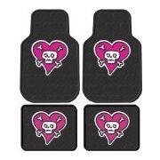Front & Rear Seat Car Truck SUV Rubber Floor Mats - Skull & Crossbones w/ Pink Heart