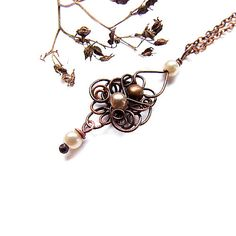 Autumn Drop Delicate Romantic Copper Necklace Faux by KicaBijoux, $27.00