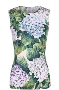 Женский зеленый приталенный шелковый топ с цветочным принтом DOLCE & GABBANA — купить за 41050 руб. в интернет-магазине ЦУМ, арт. 0102/F7U24T/GDF96