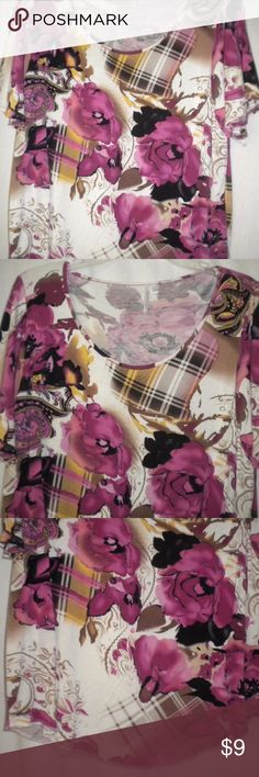 Analogy-Large Women Shirt Top Blouse Barely Worn. Analogy Women Size Large Top. Short sleeves. Off white, yellow, fuschia, hot pink, black, brand and pink floral pattern. Material tag is missing, feels like Rayon. Chest approximately 46 inches and length approximately 26 1/2 inches. Analogy Tops