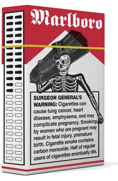DJ Stout, of Pentagram, designed this cigarette box to embrace the warning label, representing a cultural shift towards smoking...since everyone already knows cigarettes are bad for you. I could see this appeal to lots of people who smoke...