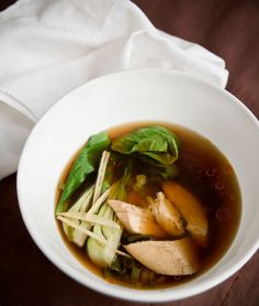 Stack of Dishes: Ginger Poached Chicken Broth Soup More