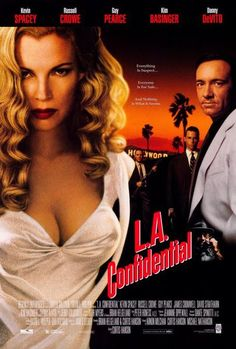 Directed by Curtis Hanson. Based on L. Confidential by James Ellroy Narrated by Danny DeVito, starring Kevin Spacey, Russell Crowe, Guy Pearce, Kim Basinger and Danny DeVito. Guy Pearce, Kim Basinger, Kevin Spacey, Danny Devito, Love Movie, Movie Tv, Perfect Movie, Cinema Paradisio, Vicky Krieps