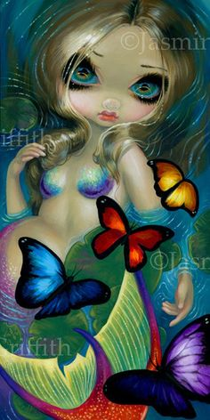 Mermaid with Butterflies fairy art print by Jasmine Becket-Griffith BIG 8x16 lilypad pond