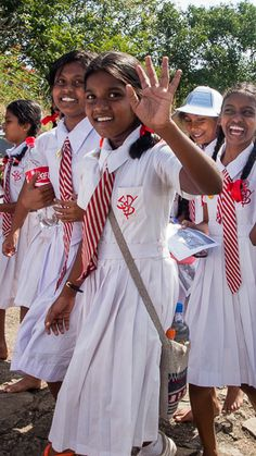 School girls visiting the cave temples at Dambulla, on a school outing.