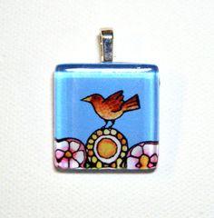 SALE Bird Lover Pendant Garden Sparrow by SusanFayePetProjects, $7.00