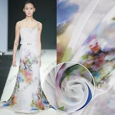 2017 Patchwork 1m/lot 140cm Tissue Telas High-grade Silk Tulle Chiffon Wholesale Fashion White Flower Dress Shirt Cloth Fabric  #Affiliate