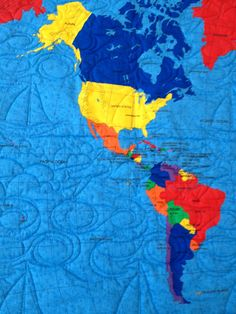 World Map Quilt for kids teens or adults  Wall by greatquiltations, $75.00, I love the boats and swirls quilted in...the swirls remind me of the ocean currents which would be fun to put in a quilt.