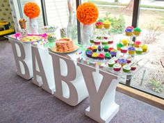 How to Make Foam Table Letters for a special event like a baby shower or wedding. Thick foam letters with a clear table top and delicious decorations. Baby Table, Baby Shower Table, Baby Shower Desserts, Baby Shower Themes, Shower Ideas, Baby Shower Centerpieces, Baby Shower Decorations, Baby Letters, Large Letters