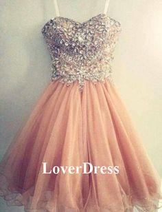 Short Prom Dress, Short Prom Dress Party, Short Prom Dress With Straps, Rhinestone Prom Dress, Beautiful Girls Prom Dress / Homecoming Dress...