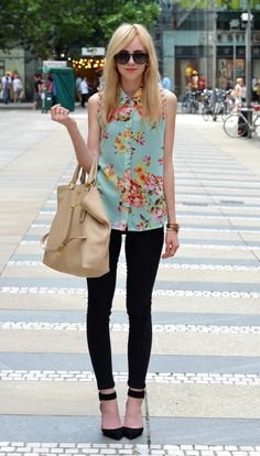 Leggings are always a classic wardrobe must-have. Spring style tip: Wear with a fun blouse -- bright or patterned!