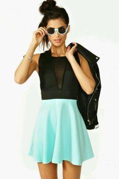 Color block skater dress