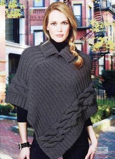 Poncho, Collar and Braids – Dots & Lines - Everything About Knitting Knitted Poncho, Crochet Cardigan, Crochet Shawl, Knit Crochet, Romper Pattern, Knit Fashion, Knit Patterns, Crochet Clothes, Knitwear