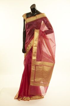 Banarsi- organza light magenta pink saree with blouse