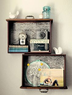 DIY dresser drawers into shelves. Plan: buy old dresser. Use drawers for this…