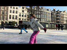 Ice skating on Amsterdam Canals Winter 2012 • Cinematic Orchestra - To Build A Home