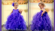 Flower girls dress purple cascading ruffles by DaisiesandDamsels, $299.00