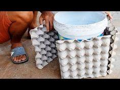 Amazing Ideas With Cement For You - Tip Build a Plant Pot From Egg Carton And Cement Concrete Garden Ornaments, Diy Cement Planters, Cement Flower Pots, Concrete Crafts, Concrete Projects, Indoor Bonsai Tree, Pot Jardin, Egg Carton Crafts, Garden Yard Ideas