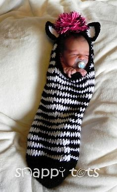 Crochet Patterns Sleeping Bag Ravelry: Barcode the zebra cocoon pattern by Heidi Yates SO SWEET Häkelanleitung Baby, Baby Kind, Crochet Baby Cocoon, Crochet Baby Clothes, Crochet Zebra, Knit Crochet, Loom Knitting, Baby Knitting, Knitting Ideas