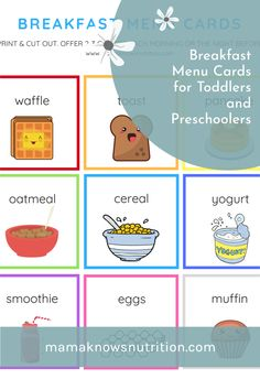 These breakfast choice cards help toddlers and preschoolers who are picky eaters, or if breakfast is stressful and you need a way to make mornings easier with your toddler, this free tool will change your mornings for the better (and prevent tantrums)! #toddlerparenting #toddlerbreakfast #toddlerfoodideas Healthy Meals For Kids, Kids Meals, Toddler Nutrition, Registered Dietitian Nutritionist, Breakfast Menu, Quick And Easy Breakfast, Menu Cards, Toddler Meals, Toddler Preschool