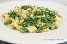 Creamy Spring Pasta with Baby Kale and Spinach ~ With a Vegan Option! | The Organic Kitchen Blog and Tutorials