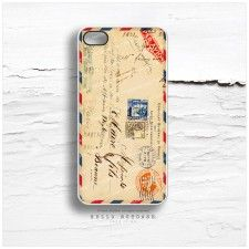iPhone 4 and 4S Case Vintage Airmail Envelope with French Ephemera V14