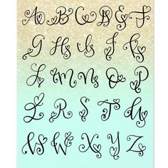 Heart Monogram Initial Iron-On Heat Transfer Decal Tattoo Lettering Fonts, Hand Lettering Alphabet, Graffiti Lettering, Lettering Styles, Fancy Letters, Creative Lettering, Lettering Tutorial, Monogram Initials, Writing