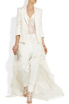Haider Ackermann | Lace-trimmed silk-chiffon and silk-satin dress | NET-A-PORTER.COM