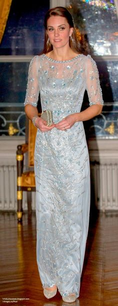 For the most glamorous event on the itinerary, Kate selected an ice blue gown from her go-to evening designer Jenny Packham. As we've come to expect from Packham, the garment is a shimmering creation with intricate embellishment and sheer detail. I love the colour (on social media many find it reminiscent of Elsa in Frozen)  and the placement of the floral detail.