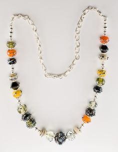 Lampwork bead necklace with sterling and fine silver.