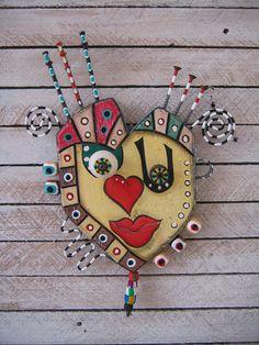 Art Heart 6 Eye Heart U  Found Object Wall Art by by FigJamStudio on etsy