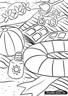 OPTIMIMMI | A free printable coloring page of summer at the beach / Ilmainen tulostettava värityskuva kesästä rannalla