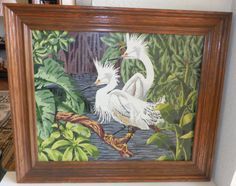 Vintage Paint by Number Tropical Heron Egret Bird by Halfmoonblues