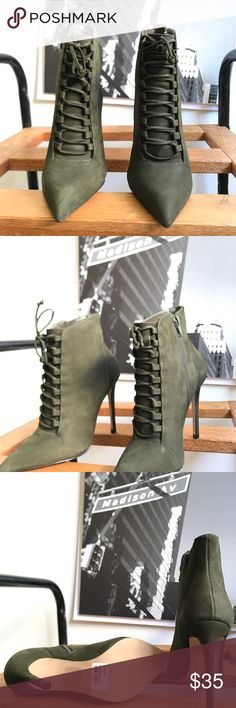 🙌🏾Brand New Aldo Booties #0170AO Brand new Aldo faux suede ankle booties with lace up details. #women #booties #anklebooties #boots #Aldo #size35 #huntergreen Aldo Shoes Ankle Boots & Booties