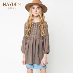 Online Shop HAYDEN Girls Peasant Dresses for Teens with Sleeves Vintage Embroidered Boho Dress for Children Kids Bohemian Clothing Lots Latest Fashion For Girls, Kids Fashion, Style Fashion, Teen Girl Outfits, Kids Outfits, Dresses For Teens, Girls Dresses, Cheap Girls Clothes, Vintage Summer Dresses