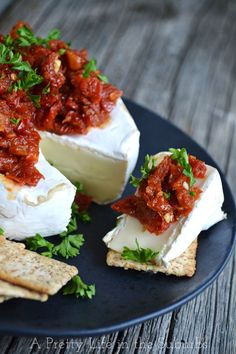 Brie with Sundried Tomatoes {A Pretty Life}  |  This would make a great holiday appetizer! Just 4 ingredients and 15 minutes and you're done!