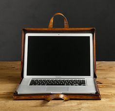RH's Artisan Leather Computer Lap Desk & Tote Chestnut:Upgrade your laptop with an artisan leather case that offers ample protection and distinctive character. Leather Laptop Case, Laptop Tote, Mac Laptop, Laptop Cases, Laptop Briefcase, Leather Wallet, Phone Cases, Lap Desk, Computer Bags