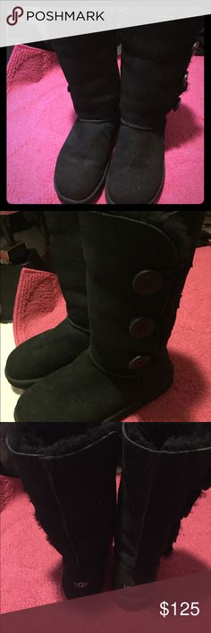 Black UGG Boots- Size 7 I live in Hawaii so I can't  use them here. I bought these when I travelled abroad and I haven't used them since then. Doesn't come with a box. Good condition! Make an offer! UGG Shoes Winter & Rain Boots