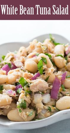 Simple tuna and white bean salad, a classic combination and so easy to make! Takes only 15 minutes. #Glutenfree #Healthy On SimplyRecipes.com