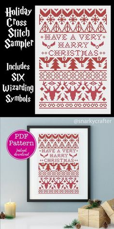 Have a Very Harry Christmas Wizarding Icons Christmas Sampler Cross Stitch Pattern Crafts For Teens To Make, Crafts To Sell, Easy Crafts, Diy And Crafts, Christmas Cross, Christmas Diy, Cross Stitch Designs, Cross Stitch Patterns, Cross Stitch Harry Potter