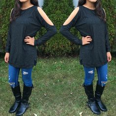 This long Cut To Perfection Sweater Tunic is the perfect length to wear with leggings or skinny jeans! Features cutout shoulder accent with cuffed sleeves and banded hem. - Spring Summer Fall Winter Fashion www.psiloveyoumoreboutique.com