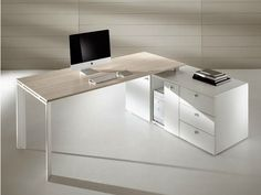 L-shaped workstation desk with drawers Cowork Collection by Ideal Form Team